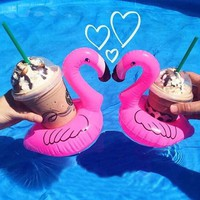 Cute Inflatable Flamingo Drink Can Cell Phone Holder Floating Swimming Stand Pool Bathing Beach Party float