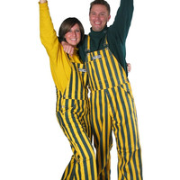 Green Bay Packers Green and Gold Men's Striped Bib Overalls