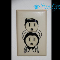 Naughty couple outlet cover VINYL DECAL in black