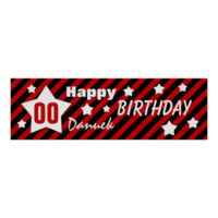 ANY YEAR Birthday Star Banner RED STRIPES STARS 5 Posters