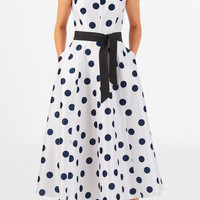 Polka dot print dupioni midi dress