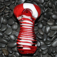 Extra Thick Red and White Glass Pipe