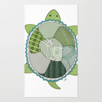 Key Lime Turtle Rug by Erin Brie Art