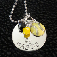 Team Spirit necklaces metal stamped team colors sports charm softball baseball football cheer wrestling golf racing boat volleyball band