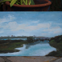 MEEKER SLOUGH - 10 x 16 -  Richmond, Oakland, Northern California - Plein Air Landscape - Original Oil Painting - Home Decor - Waterway, Art