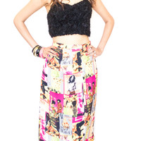 Fashion Print Silk Pencil Skirt