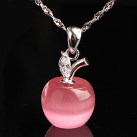 Pink 925 Sterling Silver Apple Shape Cat's Eye Stone Moonstone CZ Pendant Party = 1929862212
