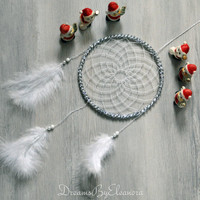 White / Silver  Shiny  Dreamcatcher / Dream Catcher with Coral gemstone, wall decor, nursery and bedroom decor, Handmade