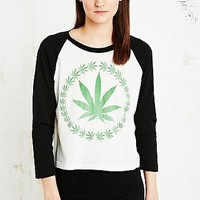 Truly Madly Deeply Weed Wreath Raglan Tee - Urban Outfitters