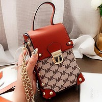MK Fashion New More Letter Print Leather Shoulder Bag Crossbody Bag Brown