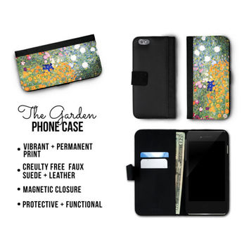 Gustav Klimt iPhone 7 Floral Garden Bifold Wallet Phone Case - Fabric and Faux Leather, Floral Phone Case, iPhone 6 Plus Case
