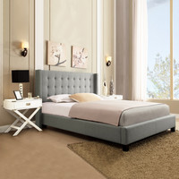 Home Creek Valencia Linen Wingback Queen Platform Bed