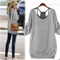 Fashion Womens Cotton Gray Shirt and Black Tank