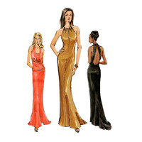 VOGUE 7797 SEXY EVENING Gown Pattern Body Con Maxi Dress Pattern Fit & Flare Gowns Dresses Womens Sewing Patterns Size 14 16 18 UNCuT 2000s
