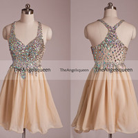 Sweetheart Champagne Straps Criss Cross All Beading Lace Up Tulle Back Short Party Dress,Bridesmaid dresses,cocktail dresses,evening dresses