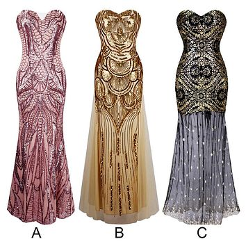 Sequins Women Sexy Mermaid Long Prom Sequins Bling Bandage Fishtail Dress Formal Evening Party Wedding Ball Gown Cocktail Dress