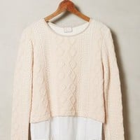 Skirted Cable Pullover by Anthropologie Pink
