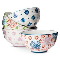 Floral Ceramic Assorted Cereal Bowl Set 4-pc - Multicolored