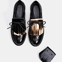 Platform brogues with a removable, interchangeable foldover tongue - SHOES - Bershka United Kingdom