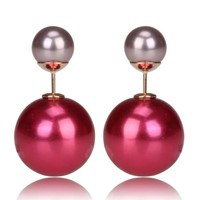Gum Tee Mise en Style Tribal Earrings - Metallic Raspberry & Metallic Silver