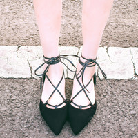 Lace-up Ankle Strap Suedue Pointed Flats
