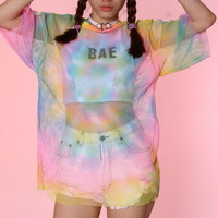 Glitters For Dinner — Ready To Post - Rainbow Mesh Oversized Tee
