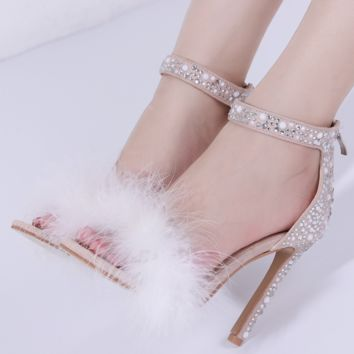 Hot style diamond rivet embellished tassel super high heels