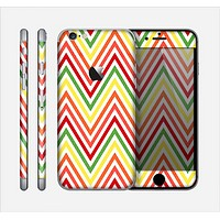 The Yellow & Red Vintage Chevron Pattern Skin for the Apple iPhone 6