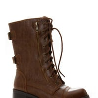 Faux Leather Double Buckle Lace Up Combat Boots