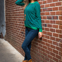 Want To Be Sweater, Green/Navy