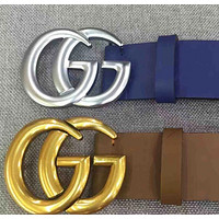 Inseva Fashion GUCCI Belt Woman Men Fashion Smooth Buckle Belt With Gift Box Blue