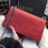 Gucci Fashion Women Men Big Logo Leather Buckle Wallet Purse I