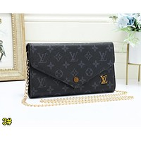 Louis Vuitton LV Fashion Women Retro Leather Metal Chain Shoulder Bag Crossbody Satchel 3#