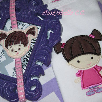 Boo Monsters inc inspired Onesuit or tee and headband set perfect for gift