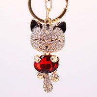 Rhinestone Metal Cat Keychain Novelty Souvenir