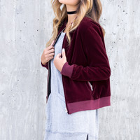 Velvet Bomber Jacket - Wine