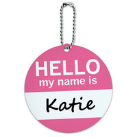 Katie Hello My Name Is Round ID Card Luggage Tag