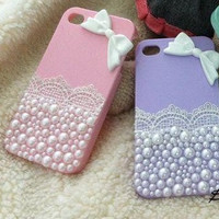 iphone 5 Case white Pearl bow cell phone case pearl Bling iPhone 4s Case iPhone Case