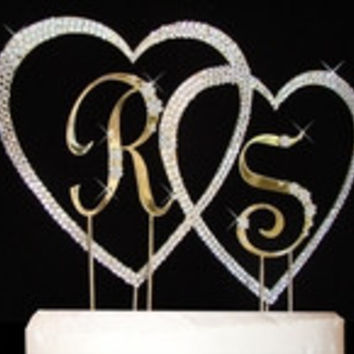 French Flower ~ Small Letters Large Covered Heart Wedding Cake Topper Set