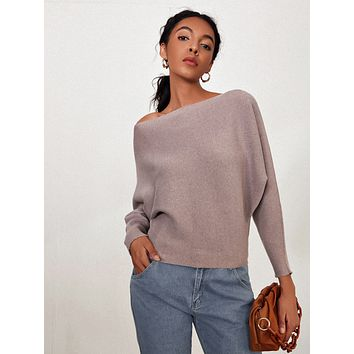 SHEIN Dolman Sleeve Ribbed Knit Sweater