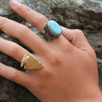 Adjustable Metallic Arrowhead Ring, Native American, Tribal Style, Gold  Silver Bohemian Jewelry