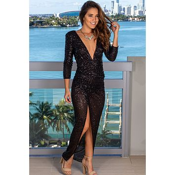 Black Sequin Maxi Dress with Ruched Side