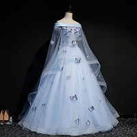 light blue slash shoulder veil butterfy gown Medieval dress Renaissance ball gown royal Victoria dress princess cosplay