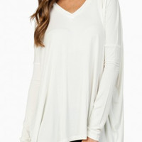 "PIKO ""Classic"" V-Neck Long Sleeve Top  - White"