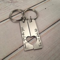 """""""With my whole heart for my whole life""""  Couples Keychain Set"""
