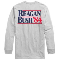 Rowdy Gentleman Reagan Bush '84 Long Sleeve Pocket Tee - White