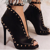 Explosion style hot sale fashion popular rivet high heel fish mouth boots shoes