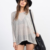 Mixed Knit Pocket Top
