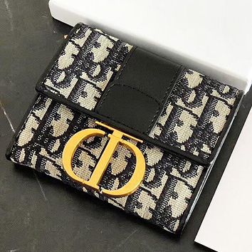 DIOR New fashion leather wallet purse women Gray