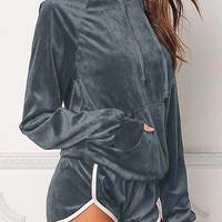 Women's Gray 2 Piece Long Sleeve Velour Hoodie and Matching Shorts Tracksuit Lounge Wear Set